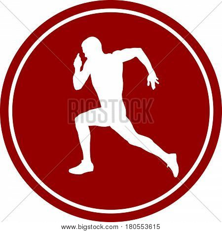 icon running sprint male athlete runner white silhouette red circle