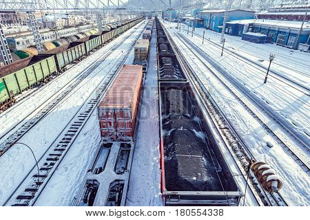 Freight trains on Slyudyanka station. Trans Siberian railway. Russia.