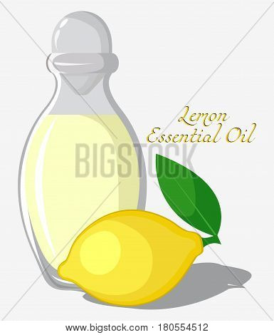 Bottle with essential oil of lemon with fruit on background