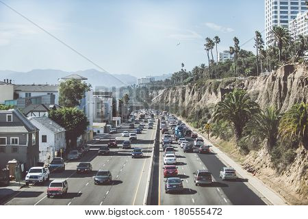 LOS ANGELES CA USA. SEPTEMBER 23 2016. Street view in Santa monica. . The city is named after the Christian saint Monica