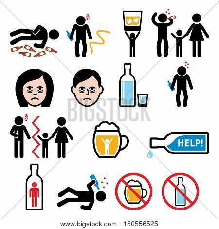Alcoholism, drunk man, alcohol addiction icons set