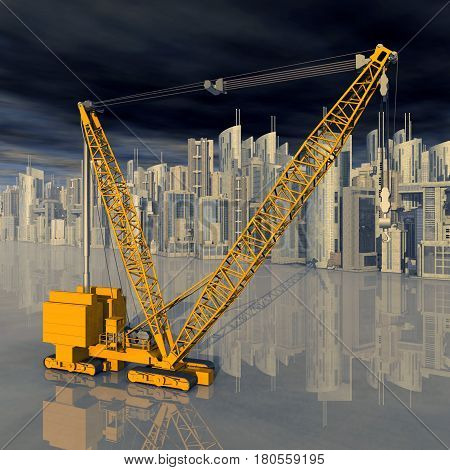 Computer generated 3D illustration with a construction crane in front of a city landscape