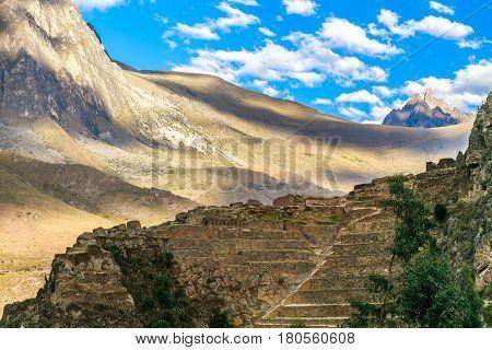 Terraces Of Pumatallis, Ancient Inca Fortress And Mountains, Sacred Valley, Ollantaytambo, Peru