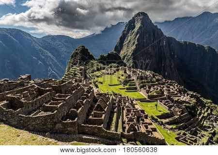 Panoramic View From The Top To Old Inca Ruins And Wayna Picchu, Machu Picchu, Urubamba Provnce, Peru