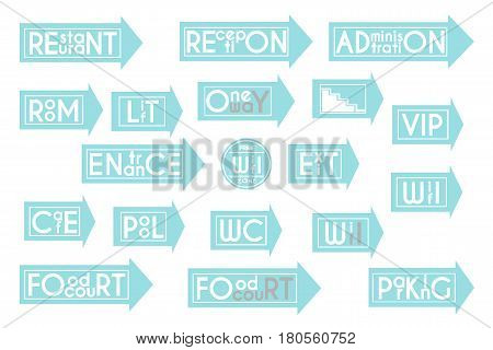 Set of blue arrows on a white background. Entrance, exit, WC, WiFi, cafe and other. Vector illustration.