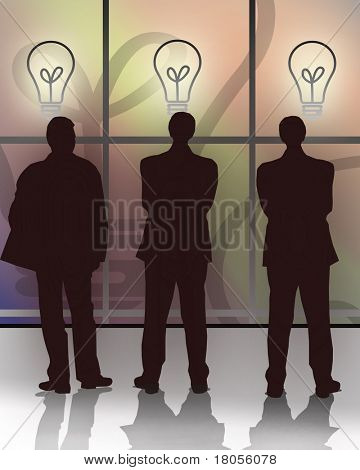 Three businessmen standing in front of a wide screen showing bulbs representing corporate ideas and choices .