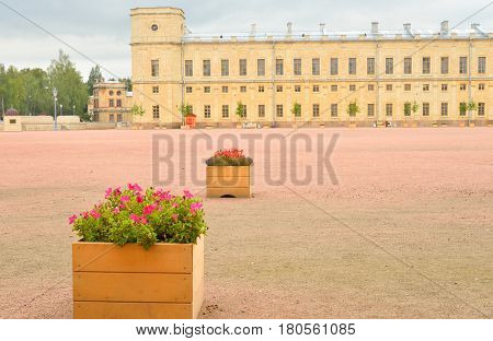 Fragment of the Big Gatchina Palace in Gatchina Russia.