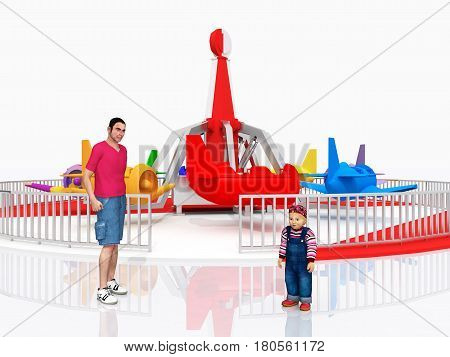 Computer generated 3D illustration with man, child and amusement park ride against a white background
