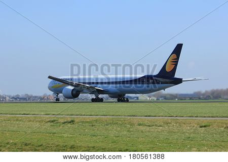 Amsterdam the Netherlands - April 2nd 2017: VT-JEW Jet Airways Boeing 777 takeoff from Polderbaan runway Amsterdam Airport Schiphol