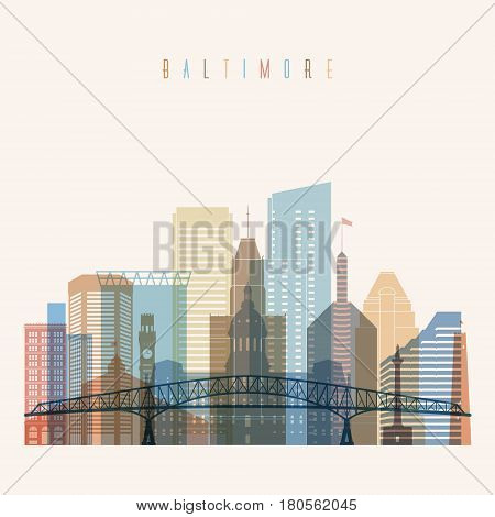 Transparent style Baltimore state Maryland skyline detailed silhouette. Trendy vector illustration.