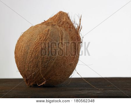 whole coconut on the white background