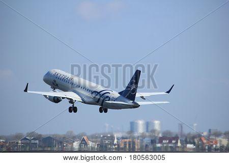 Amsterdam the Netherlands - April 2nd 2017: PH-EZX KLM Cityhopper Embraer ERJ-190STD takeoff from Polderbaan runway Amsterdam Airport Schiphol