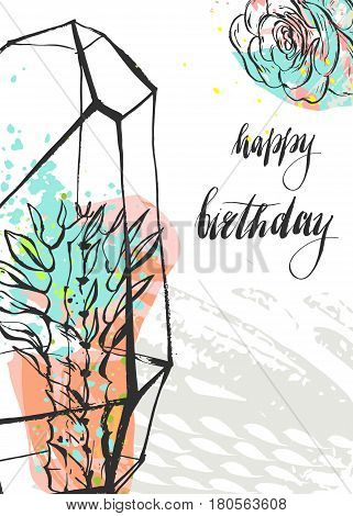 Hand drawn vector abstract unusual universal Happy Birthday greeting card template with succulent plants in terrarium and handwritten calligraphy Happy Birthday quote isolated on white background.