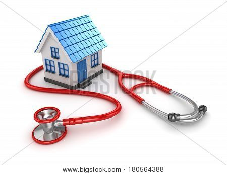 Blue House and Red Stethoscope This is a 3d Rendered Computer Generated Image. Isolated on White.