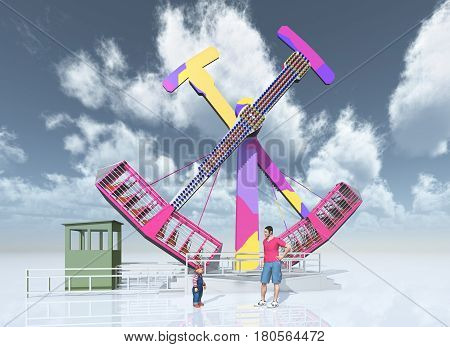 Computer generated 3D illustration with man, child and amusement park ride