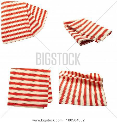 Set stack of colorful dish towels isolated on white. Multi-colored linen napkins for restaurant. Flat mock up for design. Top view close up