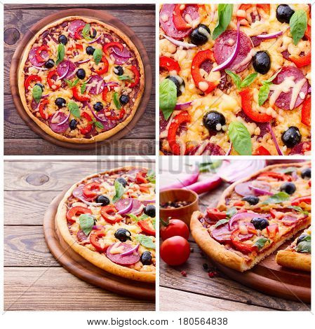 Pizza with ham, pepper and olives. Pizza with salami, mushrooms, mozzarella and basil on wood table top viewl. Set