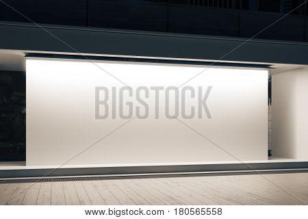 Shopfront With White Banner