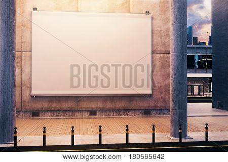 Empty White Billboard, Night Time