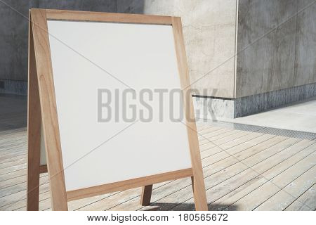 Close up of blank white menuboard on wooden floor background. Cafe advertisement. Mock up 3D Rendering