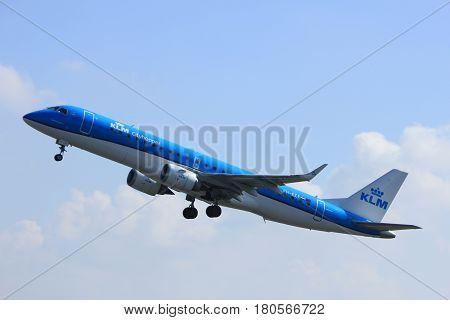 Amsterdam the Netherlands - April 2nd 2017: PH-EZE KLM Cityhopper Embraer ERJ-190STD takeoff from Polderbaan runway Amsterdam Airport Schiphol