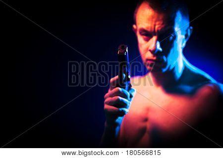 Man With Pistol Gun Naked