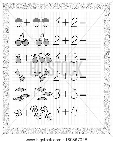 Black and white worksheet on a square paper with exercises for little children. Page with the tasks on addition.