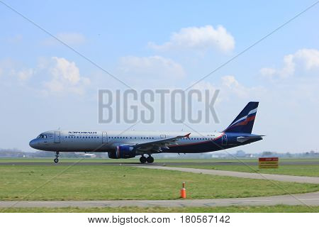 Amsterdam the Netherlands - April 2nd 2017: VP-BUM Aeroflot - Russian Airlines Airbus A321 takeoff from Polderbaan runway Amsterdam Airport Schiphol