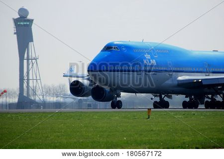 Amsterdam the Netherlands - April 2nd 2017: PH-BFL KLM Royal Dutch Airlines Boeing 747-400 City of Lima takeoff from Polderbaan runway Amsterdam Airport Schiphol