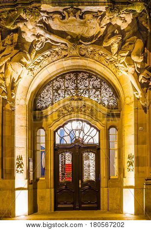 The door of the company Concordia in the center of Wuppertal-Barmen Germany. February 2017