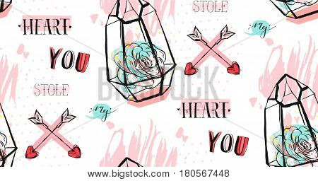 Hand drawn vector abstract graphic Love concept seamless pattern design with succulent plant in terrarium and modern calligraphy phase You stole my heart in pastel color isolated on white background