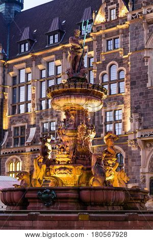 Jubilee fountain in front of the town hall in Wuppertal-Elberfeld near Nacht. Germany NRW.