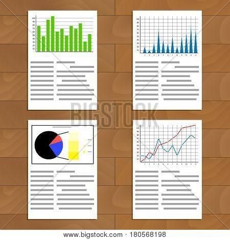 Set of documents with graphics and charts. Infochart and infographic market analysis and development. Vector illustration