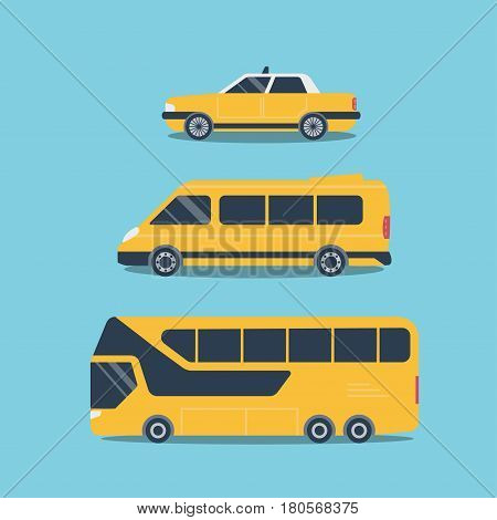 Set of cars for travel trips taxi mini bus and bus