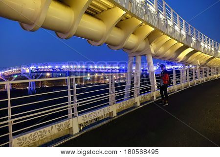 Modern Bicycle Overpass By Night