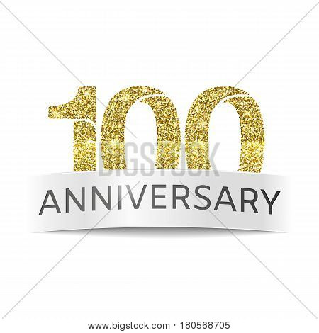 One hundred year anniversary. The banner of the 100th birthday golden glitter color on white background