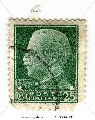 GOMEL, BELARUS, APRIL 5, 2017. Stamp printed in Italy shows image of  The Victor Emmanuel III was the King of Italy from 29 July 1900 until his abdication on 9 May 1946, circa 1930.
