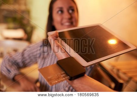 Happy Customer Paying Bill By Card