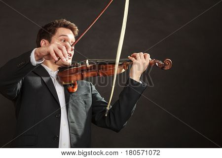 Young Man Violinist Shocked, Broken Bow