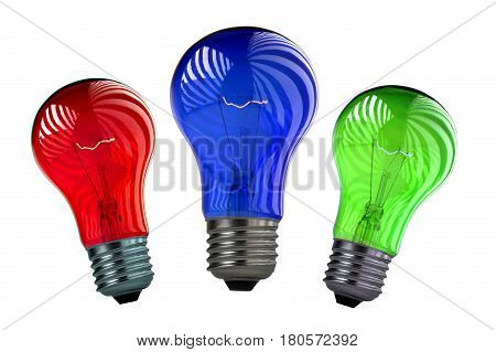 Bulb green, blue, red on a write background