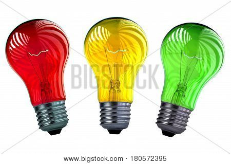 Bulb yellow, green, red isolated on a white background