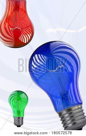 Bulb red, green, blue on a write background