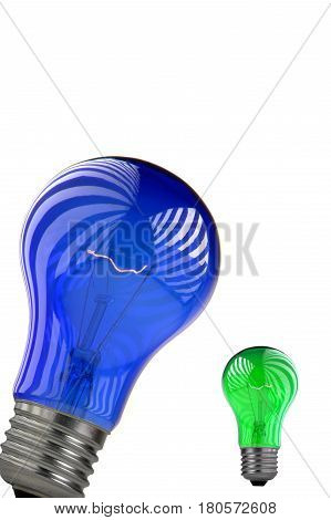 Bulb green, blue on a write background