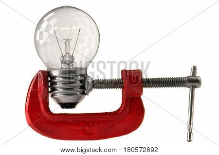 The a bulb on a white background