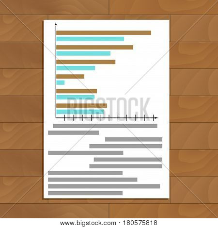 Chart and graphic. Infograph and infochart on paper. Vector illustration