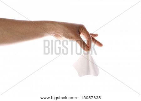 Feminine hands holding the end of tissue, isolated. ( Tissue can be easily replaced by other item ) poster