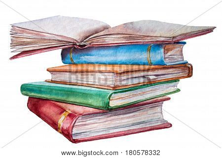 High book stack isolated on white background