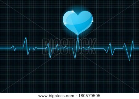 Electrocardiogram sign. Blue waves. medicine background. Vector illustration