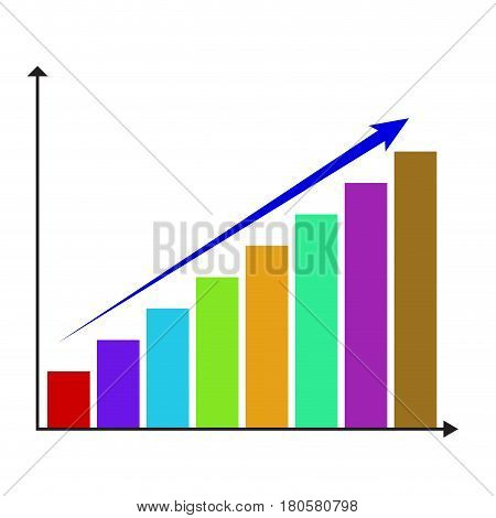Growth color chart graphic. Infochart analysis statistic report plan diagram vector illustration