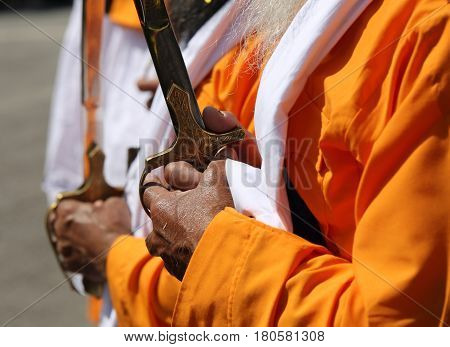 Vicenza, Vi, Italy - April 8, 2017:hand Of The Elderly Sikh Man With Ceremonial Scimitar